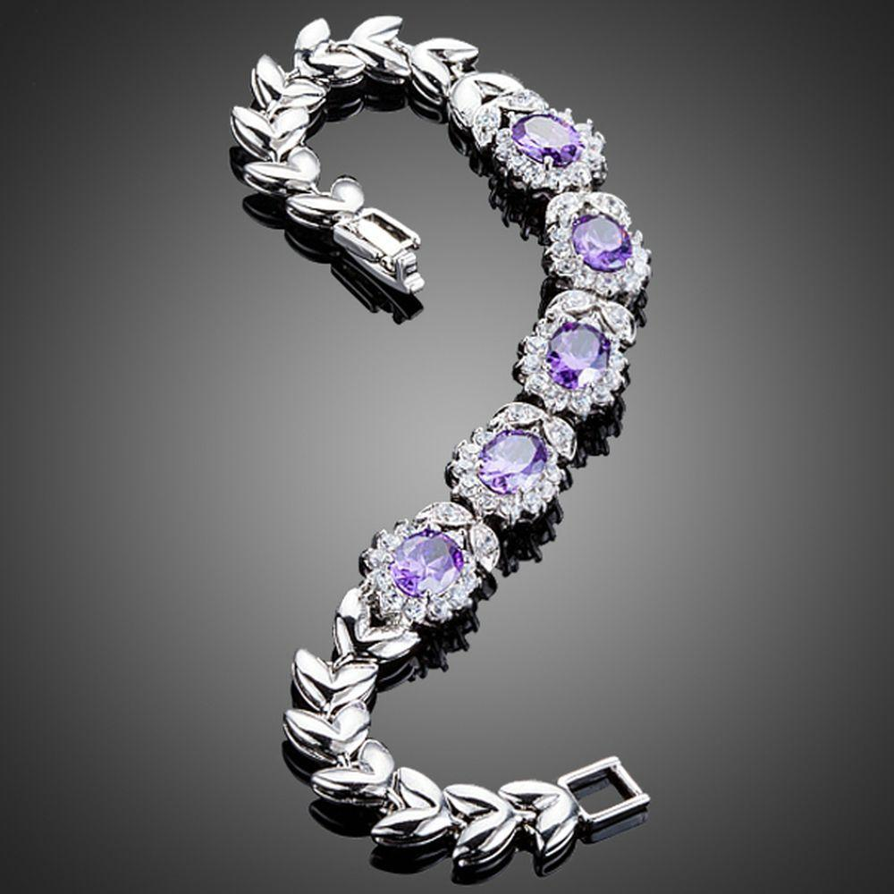 Purple Flower Cubic Zirconia Bracelet - KHAISTA Fashion Jewellery