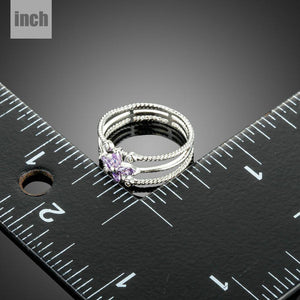 Purple Flower Cubic Zirconia Ring for Women - KHAISTA Fashion Jewellery