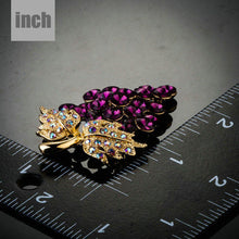 Load image into Gallery viewer, Purple Grapes Bunch with Diamante Leaves Brooch Pin - KHAISTA Fashion Jewellery