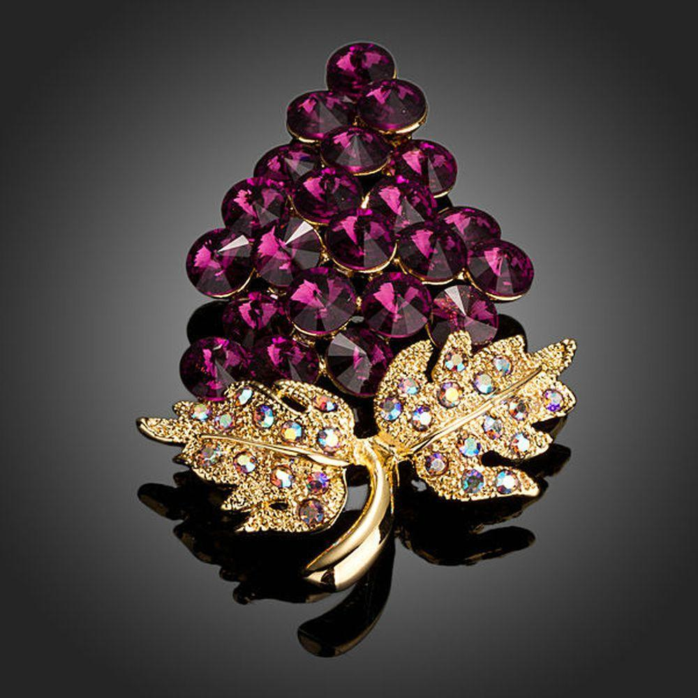 Purple Grapes Bunch with Diamante Leaves Brooch Pin - KHAISTA Fashion Jewellery