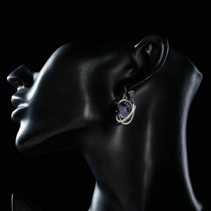 Purple Halo Drop Earrings - KHAISTA Fashion Jewellery