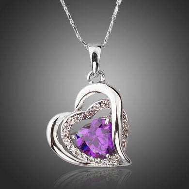 Purple Heart Necklace Pendant - KHAISTA Fashion Jewellery
