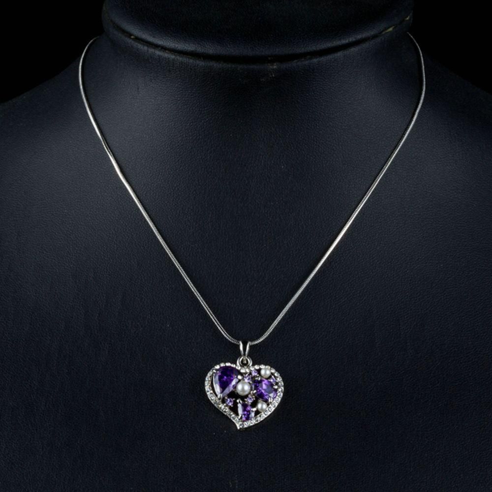 Purple Heart Pendant Necklace KPN0158 - KHAISTA Fashion Jewellery