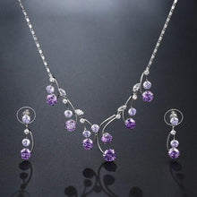 Load image into Gallery viewer, Purple Jewellery Set for Engagement Wedding Day - KHAISTA Fashion Jewellery