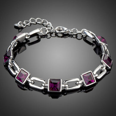 Purple Link Chain Lobster Bracelet - KHAISTA Fashion Jewellery