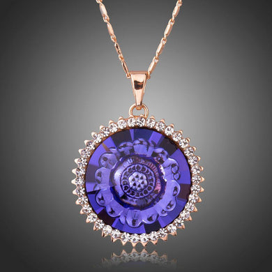 Purple Lotus Flower Pendant Necklace KPN0235 - KHAISTA Fashion Jewellery
