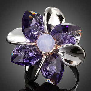 Purple Petals Flower With Stellux Austrian Crystal Adjustable Size Ring - KHAISTA Fashion Jewellery