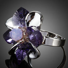 Load image into Gallery viewer, Purple Petals Flower With Stellux Austrian Crystal Adjustable Size Ring - KHAISTA Fashion Jewellery