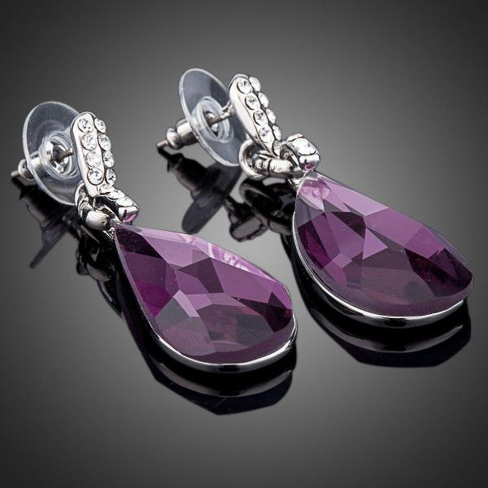 Purple Raindrop Crystal Drop Earrings - KHAISTA Fashion Jewellery