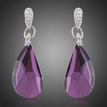Load image into Gallery viewer, Purple Raindrop Crystal Drop Earrings - KHAISTA Fashion Jewellery