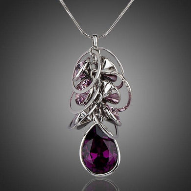 Purple Stellux Austrian Crystal Pendant Necklace KPN0051 - KHAISTA Fashion Jewellery
