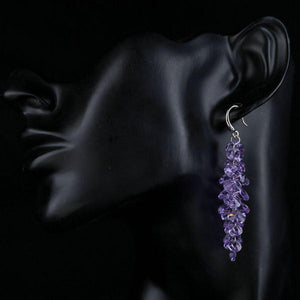 Purple Stellux Austrian Drop Earrings -KPE0097 - KHAISTA Fashion Jewellery