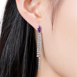 Purple Tassel Dangle Earrings -KPE0337 - KHAISTA Fashion Jewellery