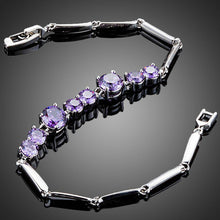Load image into Gallery viewer, Purple Toggle Clasp Cubic Zirconia Bracelet - KHAISTA Fashion Jewellery