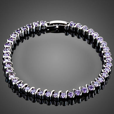 Purple Toggle Clasp Cubic Zirconia Bracelet - KHAISTA Fashion Jewellery