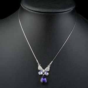 Purple Water Drop Butterfly Pendant Necklace - KHAISTA Fashion Jewellery