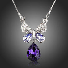 Load image into Gallery viewer, Purple Water Drop Butterfly Pendant Necklace - KHAISTA Fashion Jewellery