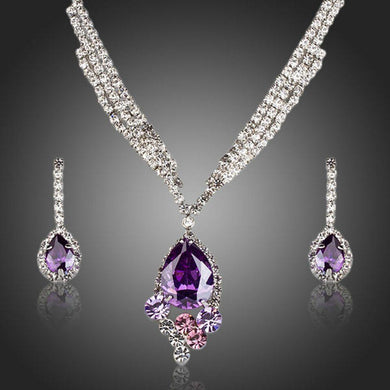 Purple Water Drop Party Wear Jewelry Set - KHAISTA Fashion Jewellery