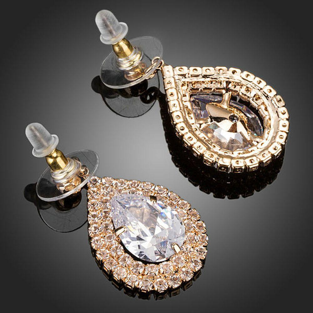 Raindrop Cubic Zirconia Drop Earrings - KHAISTA Fashion Jewellery