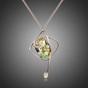Rectangle Green Austrian Crystals Long Pendant Choker KPN0295 - KHAISTA Fashion Jewellery