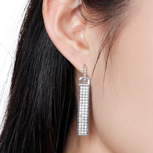 Load image into Gallery viewer, Rectangle Paved Cubic Zirconia Dangle Earrings -KPE0328 - KHAISTA Fashion Jewellery
