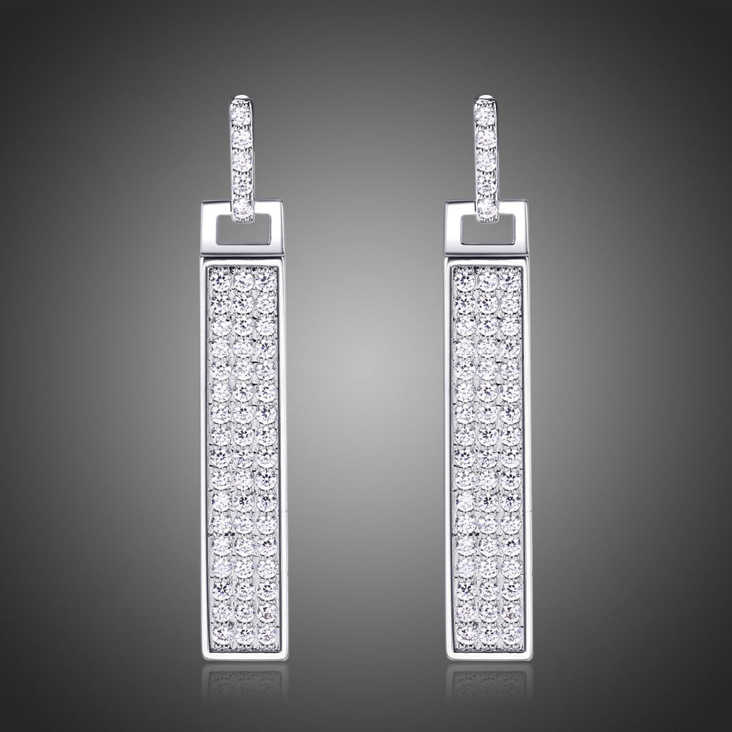Rectangle Paved Cubic Zirconia Dangle Earrings -KPE0328 - KHAISTA Fashion Jewellery