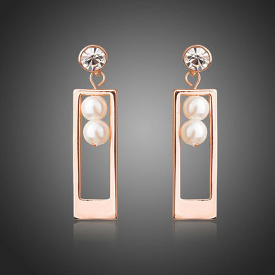 Rectangle Shape Rose Gold Color Pearl Drop Earrings - KHAISTA Fashion Jewellery