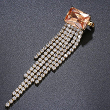 Load image into Gallery viewer, Rectangle Tassel Champagne Zirconia Brooch - KHAISTA Fashion Jewellery