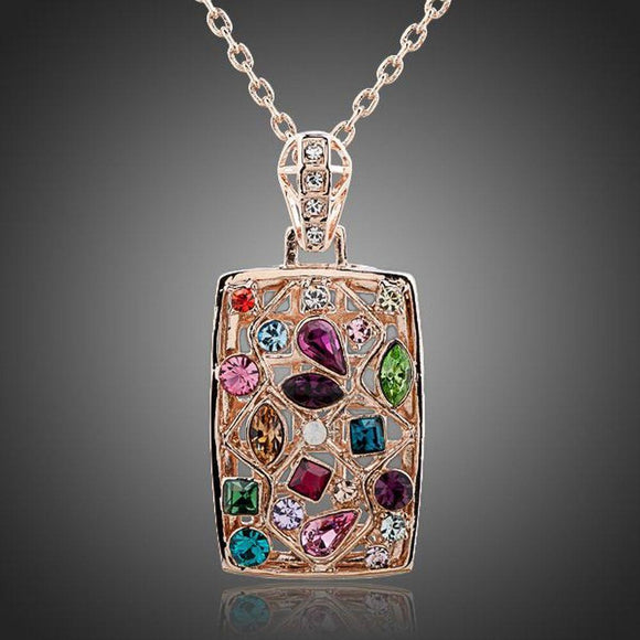 Rectangular Rainbow Crystals Necklace - KHAISTA Fashion Jewellery