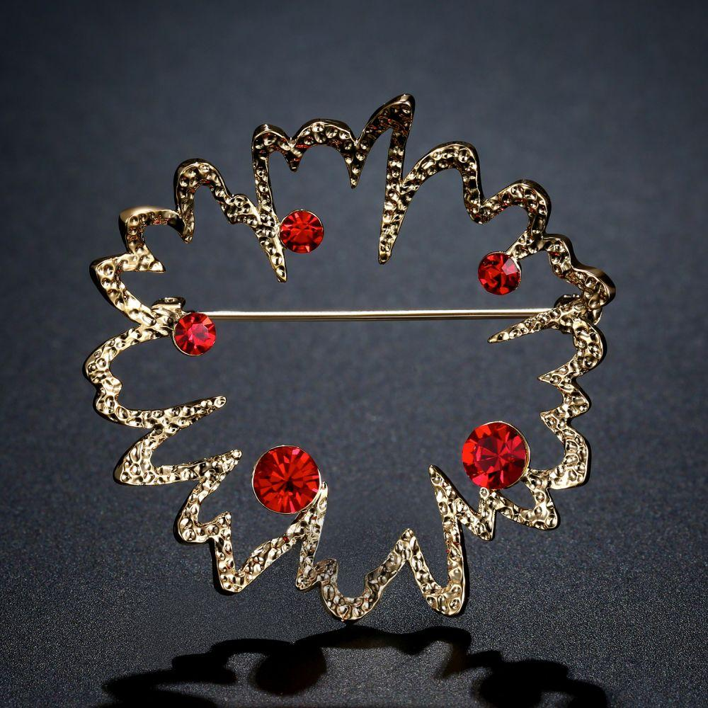 Red Austrian Rhinestone Flower Brooch - KHAISTA Fashion Jewellery