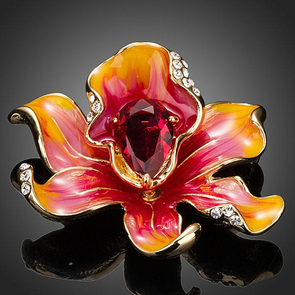 Red Blood Oil Paint Flower Pin Brooch - KHAISTA Fashion Jewellery
