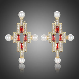 Red Cross Pearl Stud Earrings -KPE0387 - KHAISTA Fashion Jewellery