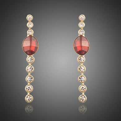Red Crystal Oval Dangle Drop Earrings - KHAISTA Fashion Jewellery