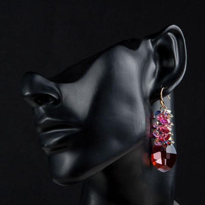Red Crystal Vine Drop Earrings - KHAISTA Fashion Jewellery