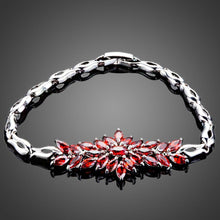 Load image into Gallery viewer, Red Cubic Zirconia Chain Link Bracelet - KHAISTA Fashion Jewellery