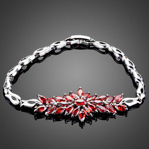 Red Cubic Zirconia Chain Link Bracelet - KHAISTA Fashion Jewellery