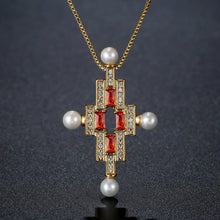 Load image into Gallery viewer, Red Cubic Zirconia Cross Pearl Pendant Necklace KPN0277 - KHAISTA Fashion Jewellery