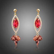 Load image into Gallery viewer, Red Cubic Zirconia Dangle Earrings -KPE0284 - KHAISTA Fashion Jewellery