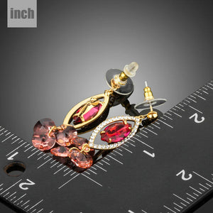 Red Cubic Zirconia Dangle Earrings -KPE0284 - KHAISTA Fashion Jewellery