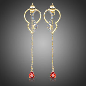 Red Cubic Zirconia Long Drop Earrings -KPE0392 - KHAISTA Fashion Jewellery