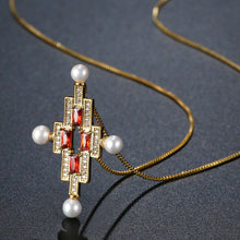 Load image into Gallery viewer, Red Cubic Zirconia Pearl Cross Necklace Earrings Bridal Jewelry Set - KHAISTA Fashion Jewellery