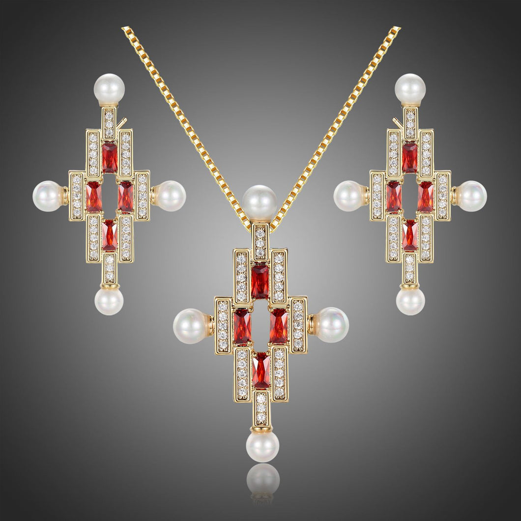 Red Cubic Zirconia Pearl Cross Necklace Earrings Bridal Jewelry Set - KHAISTA Fashion Jewellery