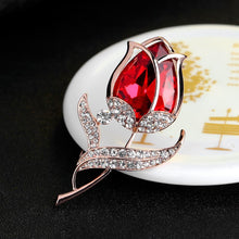Load image into Gallery viewer, Red Flower Brooch - KHAISTA Fashion Jewellery