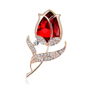 Red Flower Brooch - KHAISTA Fashion Jewellery