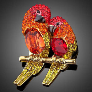 Red Lovebirds Pin Brooch - KHAISTA Fashion Jewellery