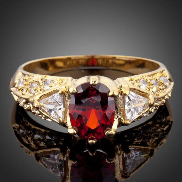 Red Oval Cubic Zirconia Ring -KFR0051 - KHAISTA