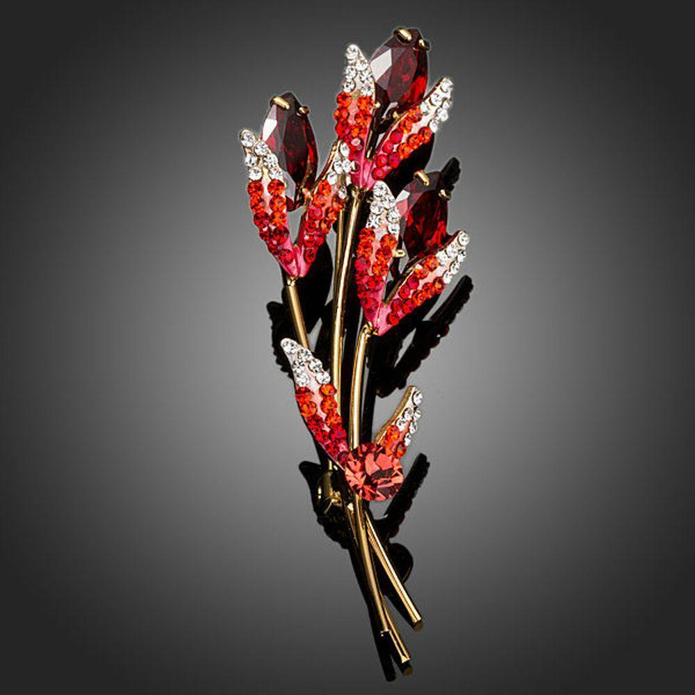 Red Scion Crystal Brooch Pin - KHAISTA Fashion Jewellery