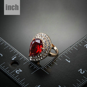 Red Water Drop Ring - KHAISTA Fashion Jewellery