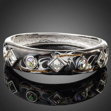 Rhodium Plated Black Artistic Cuff Bangle - KHAISTA Fashion Jewellery