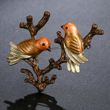 Roast Paint Two Bird On Tree Vintage Brooch Pin - KHAISTA Fashion Jewellery